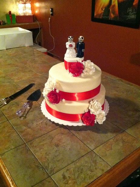 Cakes Sugar Cains Red Ribbon Wedding Cake