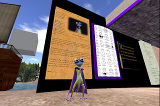 Shyla the Super Gecko stands in front of the exhibit she built at Ethnographia in Second Life
