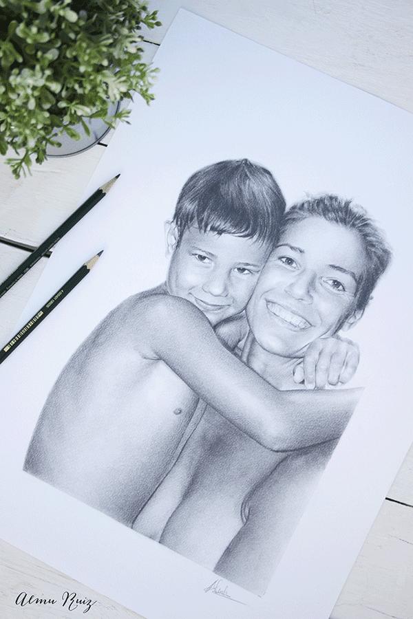 Retrato madre e hijo dibujado a lápiz
