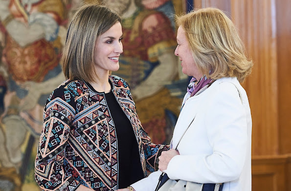 Queen Letizia of Spain attend an Audience to a representation of the Board of the Foundation for Help Against Drug Addiction (FAD) at Palacio de la Zarzuela