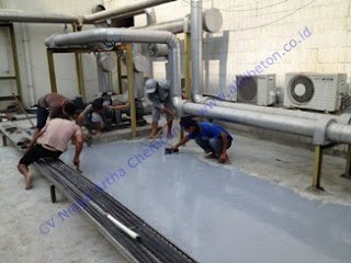 waterproofing coating pu atau coating polyurethane pada area atap dak