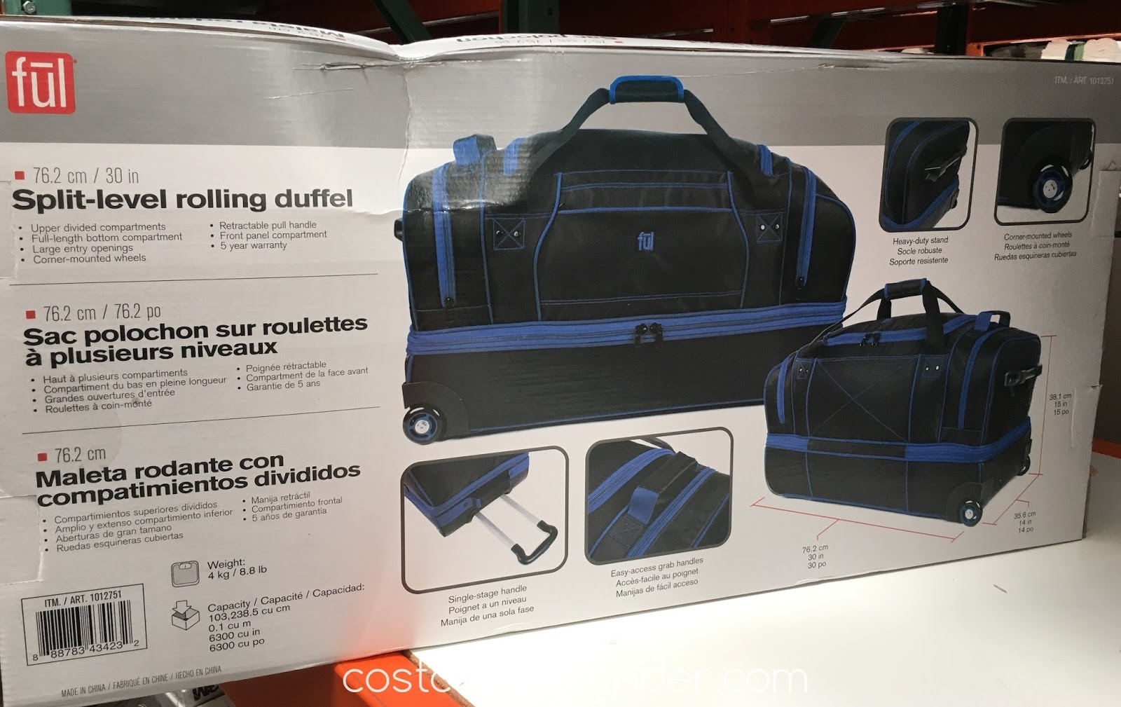 Costco 1012751 Travel The Right Way With Ful Split Level Rolling Duffel Bag