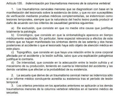 que dice el articulo 135 de la ley 25 2015 el baremo de accidentes