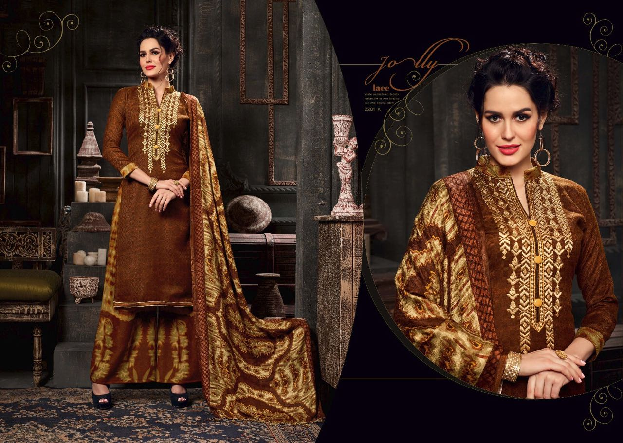 Aarzu Vol 6 – Garden Pashmina Print With Neck Embroidery Salwar Suit