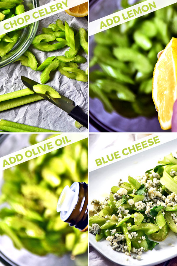 How to make this simple celery salad with Gorgonzola cheese collage of chopping celery, squeezing lemon, adding olive oil, and topping with blue cheese