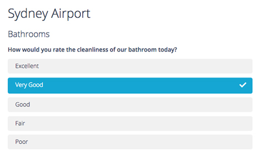 A questionnaire asking for a bathroom hygience rating.