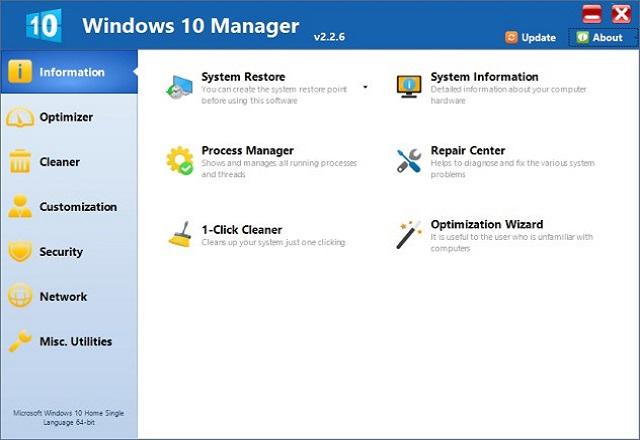 تحميل برنامج تنظيف وتسريع نظام تشغيل الويندوز Windows 10 Manager v2.2.6 آخر إصدار