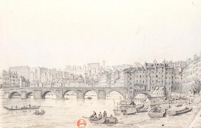 Théodore Basset de Jolimont - Vue du Pont de pierre à Lyon - BN, département des Estampes.