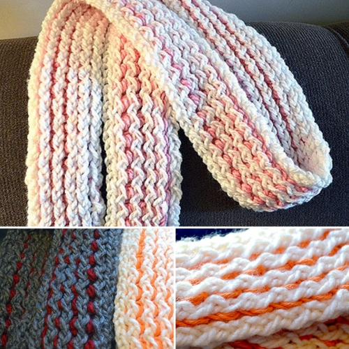 Two-Toned Loom Knitted Scarf - Tutorial