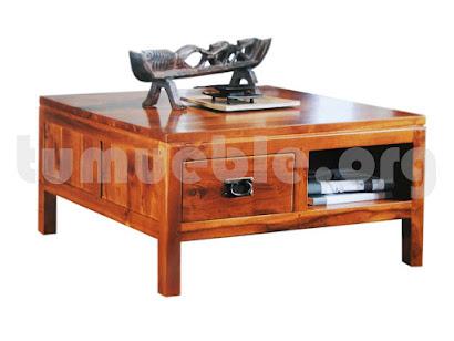 mesa de centro con cajones en teca 4082