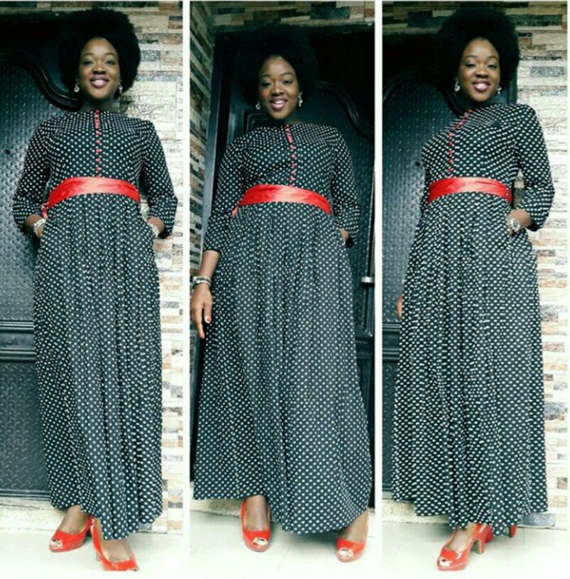 Polka dot gown and red belt for Sundays