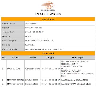 Status Pengiriman PT. POS Indonesia