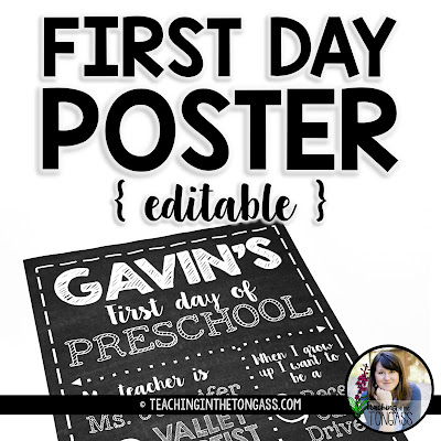 first day of school editable poster