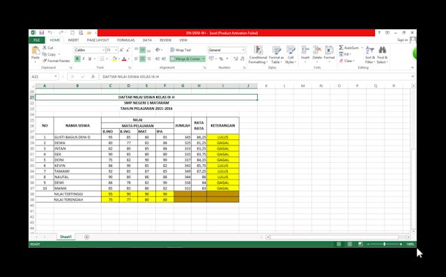 Download Cara Membuat Daftar Nilai Menggunakan MS Excel 2007