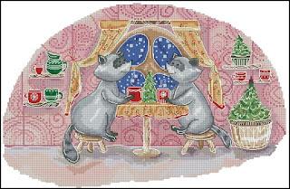 Cross-stitch «Еноты за столом» Надежда Григорьева (Mandarinks)
