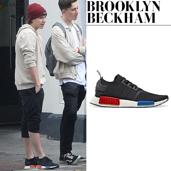 Brooklyn Beckham in black Adidas NMD primeknit sneakers casual style