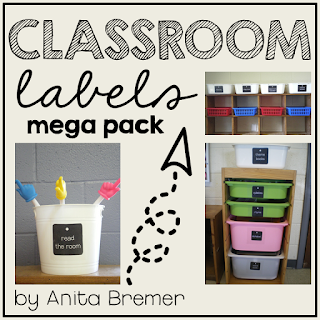Tag style labels to label any container or tub in the classroom