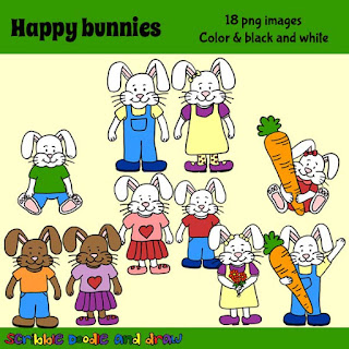 clip art images of cute bunnies wearing clothes and holding carrots