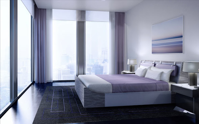 Rendering of one of the bedrooms in the future apartments in Maha Nakhon