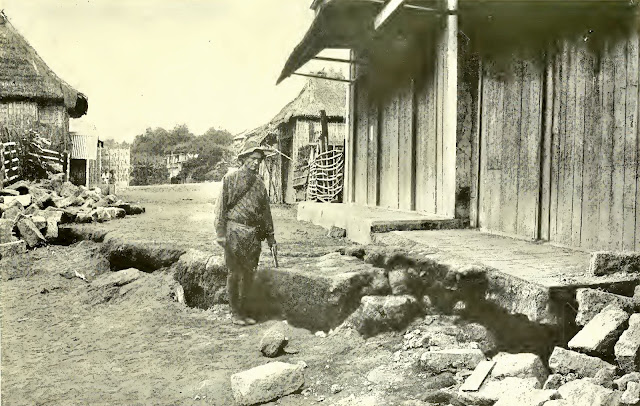 The earthquakes which occurred during the eruption cracked the ground as far away as Lemery, where this photograph was taken.