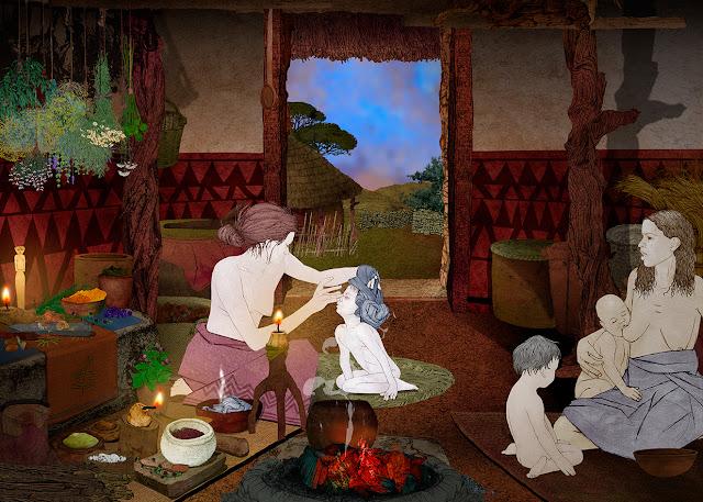 amanecer dentro de la choza, edad del cobre, mujeres y niños