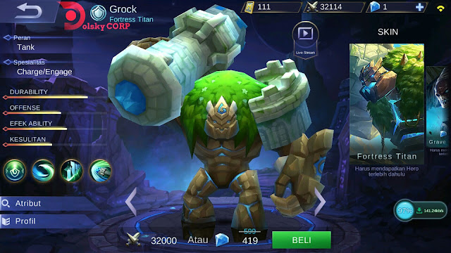 Mobile Legends : Hero Grock ( Fortress Titan ) Tanker Builds Set up Gear