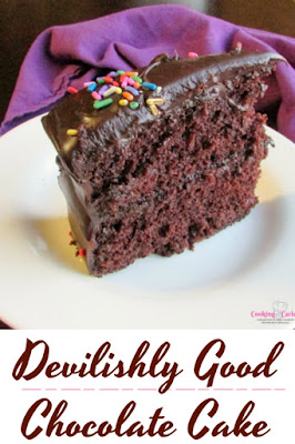 This chocolate cake is devilishly good! Made with pantry staples, it is almost easier than using a mix. It is rich chocolaty soft and perfect!