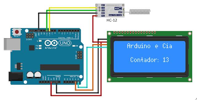 Circuito receptor/central Arduino Uno, HC-12 e display LCD e HC-12