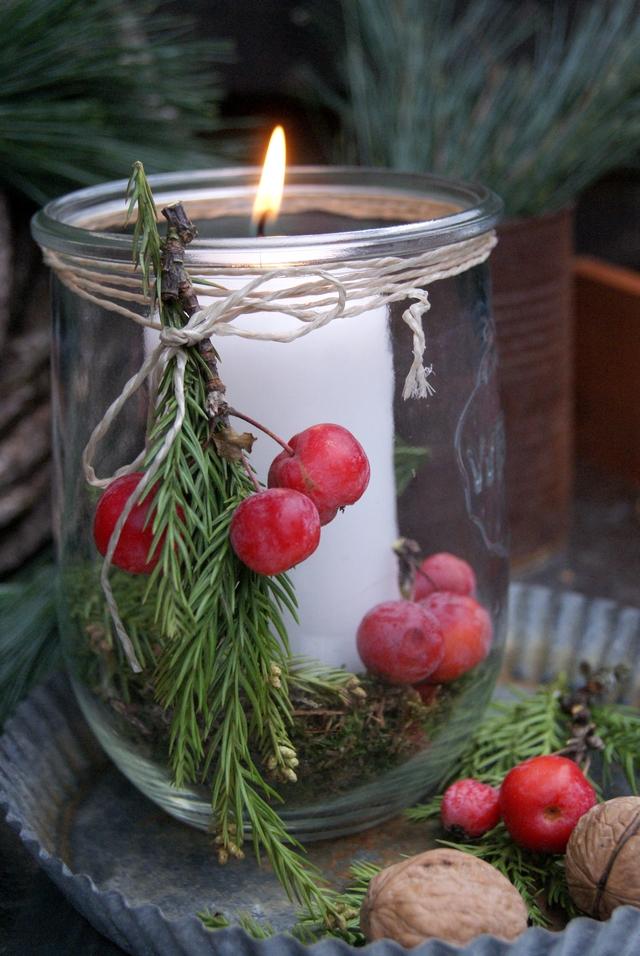 Weckglas mit Kerze weihnachtlich dekoriert