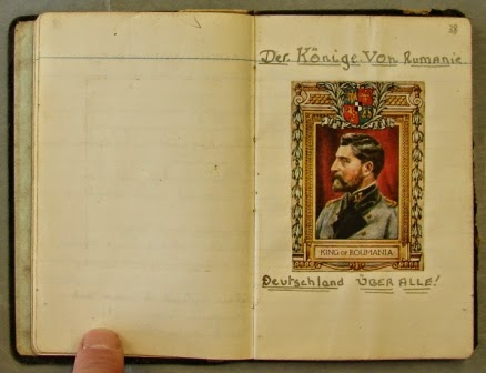 A page with a picture of the King of Romania from the small black notebook. (National Archives KV 2/27)
