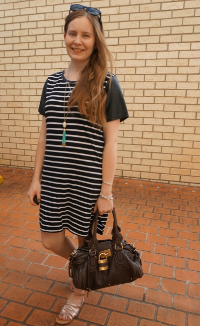 All about eve black white striped tee dress with Chloe Paddington bag and rose gold metallic sandals | awayfromblue