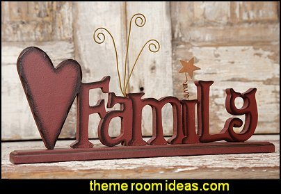 Family Wooden Word Sign primitive americana decorating style - folk art - heartland decor - rustic Americana home decor - Colonial & Country style decorating Americana bedroom designs - Primitive Country Rustic decor