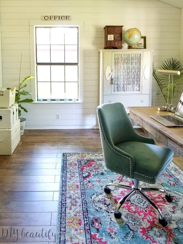 create an office with farmhouse charm in a boring room