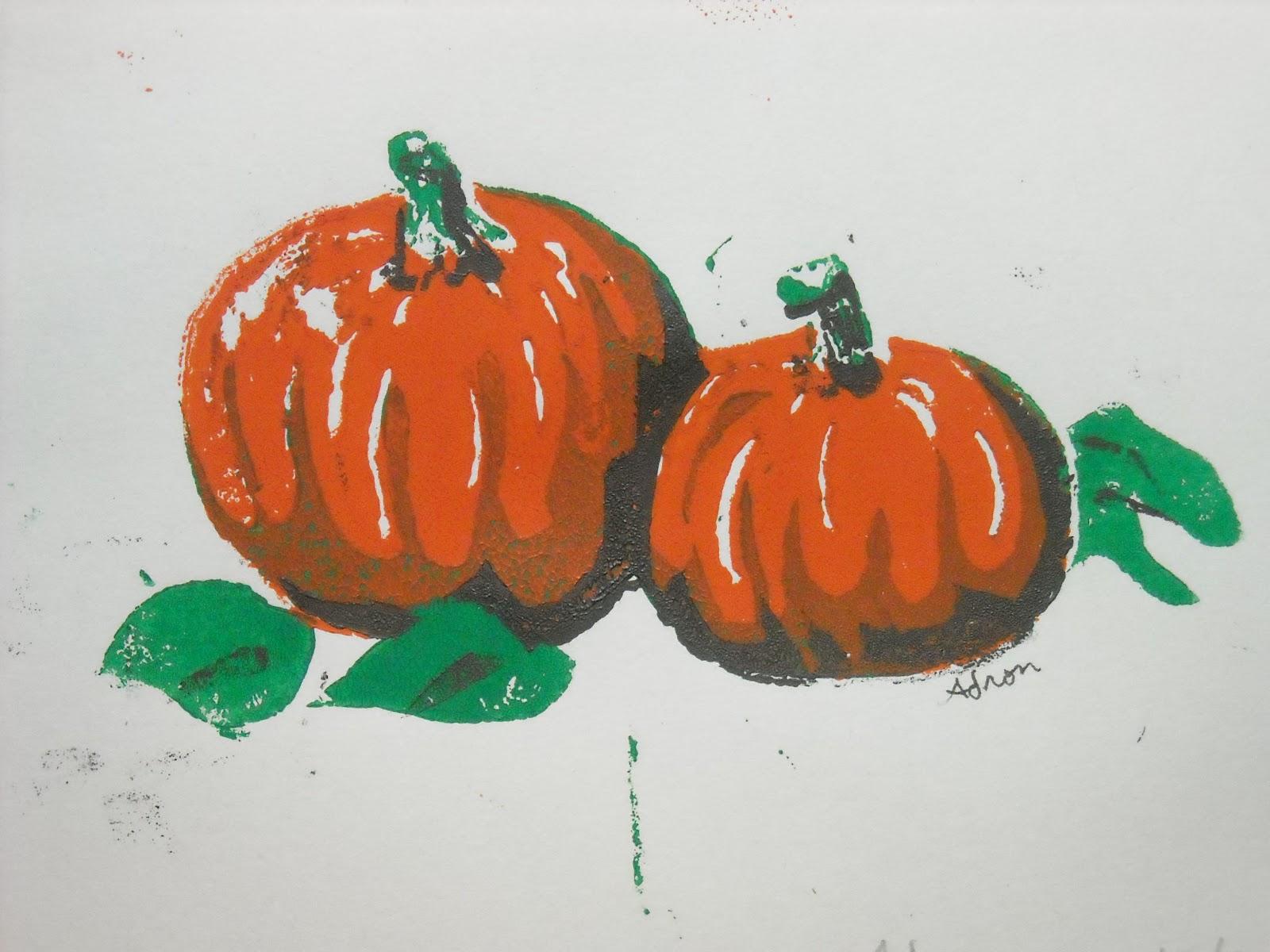 Artist Adron Hand Made Print Pumpkins 8x10