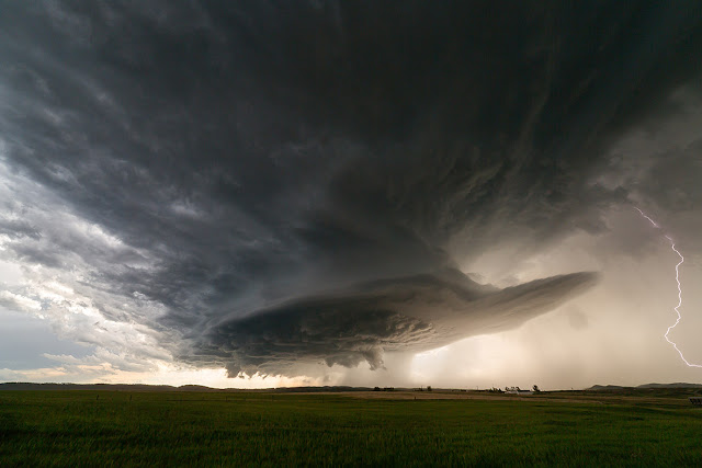 Supercell and Lightning over South Dakota