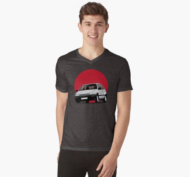 Daihatsu Charade with rising sun t-shirts white