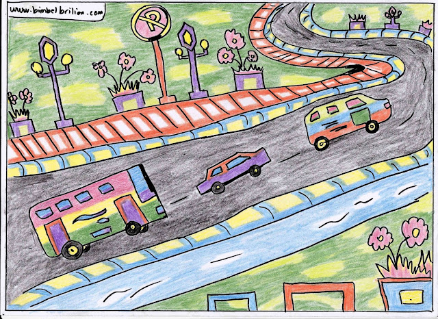 4. Gambar Jalan Raya, Bus, Mobil Warna-Warni
