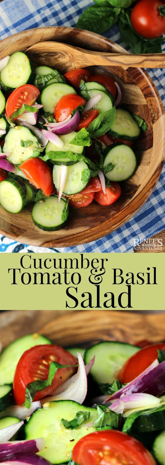 Cucumber, Tomato, and Basil Salad | Renee's Kitchen Adventures - easy recipe for a fresh summer salad made with cucumbers, red-ripe tomatoes, and fresh basil.  Perfect side dish recipe for any grilled steak, chicken, or pork dish. Great as a vegetarian lunch!