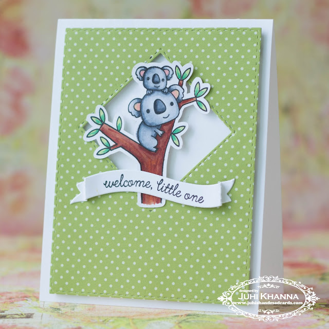 CAS card using #ReverseConfetti Bear Hugs Stamps. Aren't those koalas the cutest?