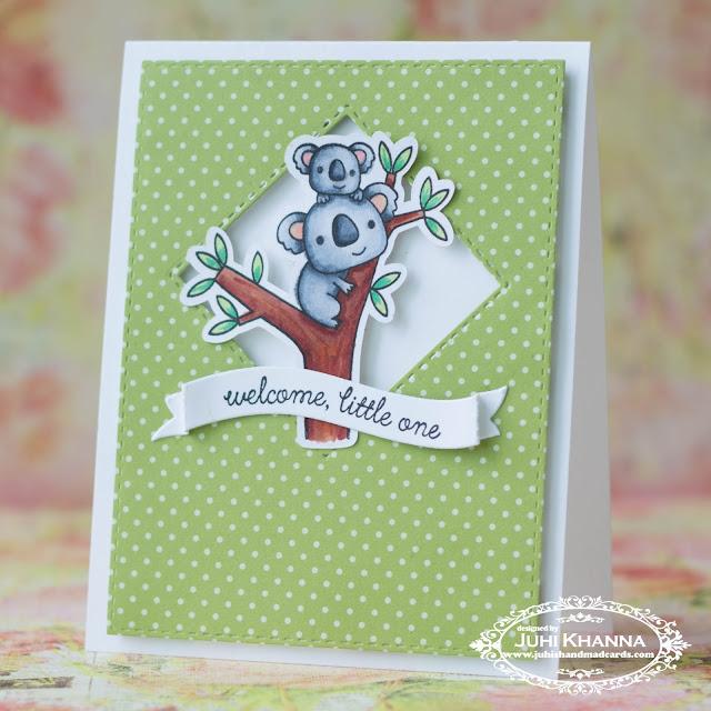 CAS card using #ReverseConfetti Bear Hugs Stamps. Aren't those koalas the cutest?