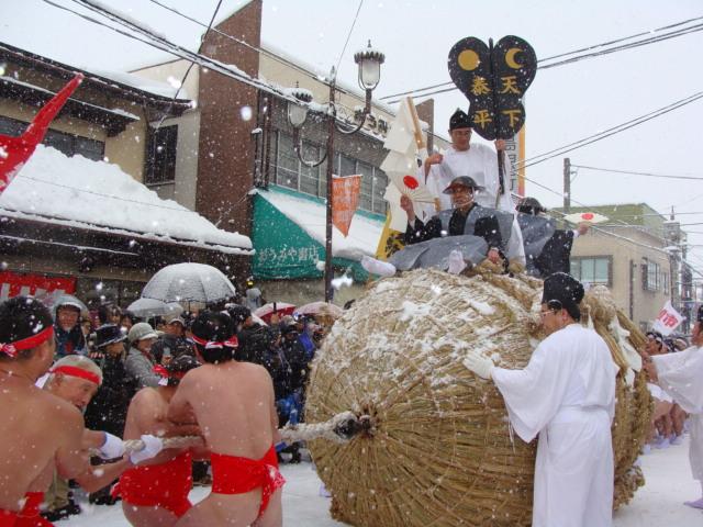 Bange Hatsuichi (Straw Bale Pulling), Aizu-Bange Town, Fukushima