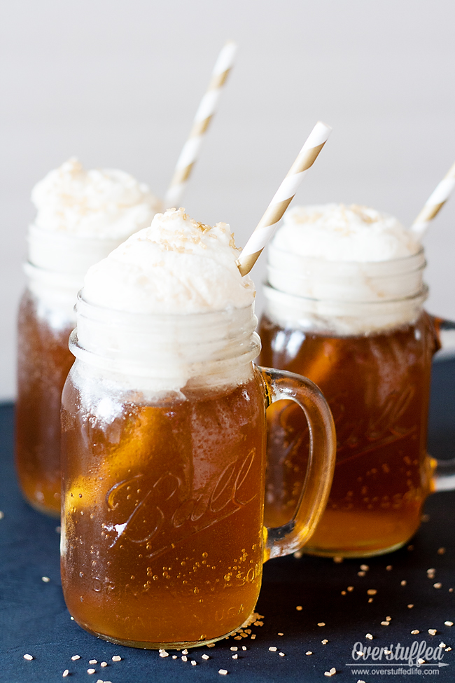 Delicious Harry Potter Butterbeer recipe. Easy to make. #overstuffedlife