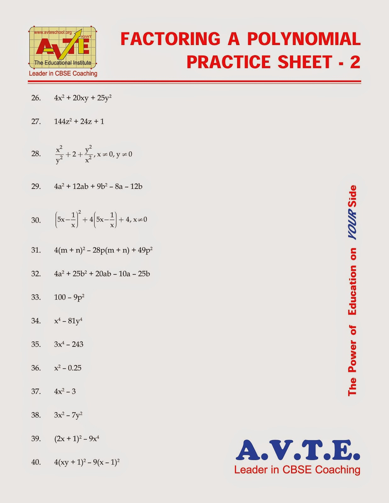 Maths4all Factoring A Polynomial Practice Sheet 2