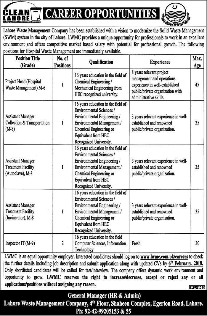 Lahore Waste Management Company LWMC Vacant vacancies for 2018