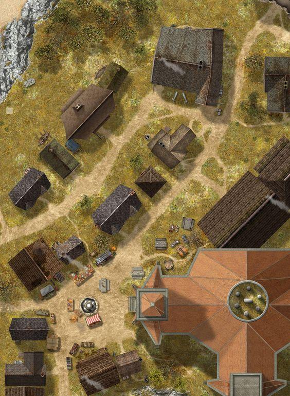 Poderia ser parte de um vilarejo com uma grande casa no centro.