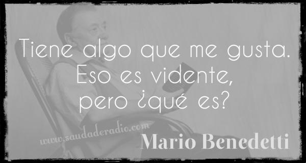 """""""Tiene algo que me gusta. Eso evidente, pero ¿qué es?"""" Mario Benedetti - La Tregua"""