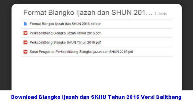 Download Blangko Ijazah dan SKHU Tahun 2016 Versi Balitbang