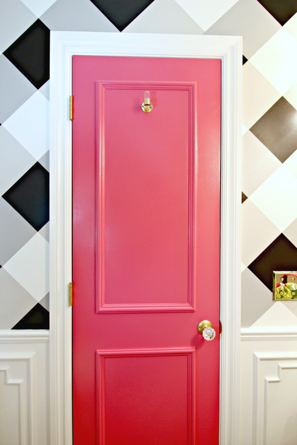 powder bath makeover, before and after, one room challenge, gingham wall, buffalo check wall, hot pink door, white moulding