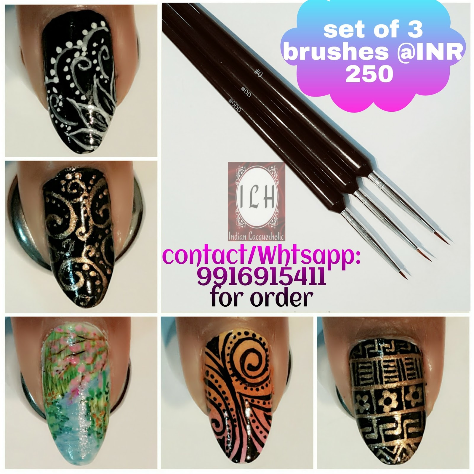 Indian lacquerholic ilh ilh nail art brush set these brushes are well tested and are recommended for freehand nailart whether you are beginner or advanced you should have them in collection prinsesfo Gallery
