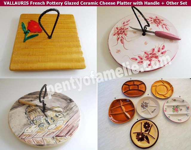 Fall season French Pottery Vallauris Glazed Ceramic Cheese Platters, Cake serving plates with Handle and various plate Set